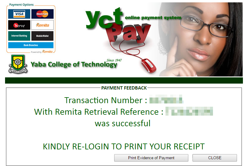 yabatech payment confirmation