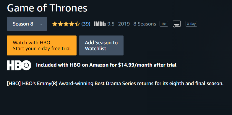 Amazon HBO Prime Game of Thrones